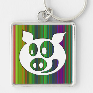 The pig Happy Silver-Colored Square Key Ring