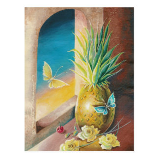 The Pineapple And The Cherry Still Life Art Cards Postcard