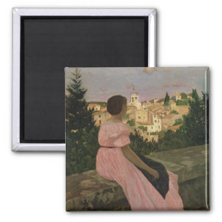 The Pink Dress, or View of Castelnau-le-Lez Magnet