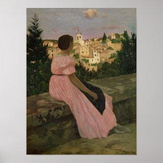 The Pink Dress, or View of Castelnau-le-Lez Poster