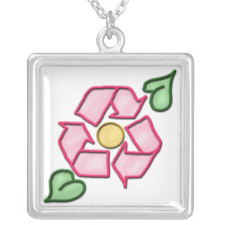 The Pink Reuse Flower ~ Sterling Silver Necklace