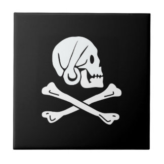 The pirate henry flag small square tile