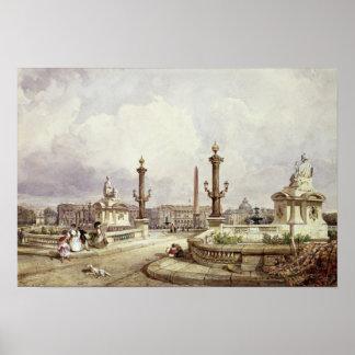 The Place de la Concorde, c.1837 Poster