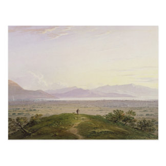The Plains of Marathon, 1834 (graphite & w/c with Postcard