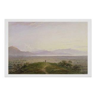 The Plains of Marathon, 1834 (graphite & w/c with Poster