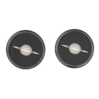 The Planet Saturn Gunmetal Finish Cuff Links