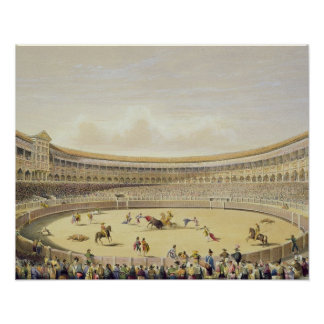 The Plaza de Toros of Madrid, 1865 (colour litho) Print