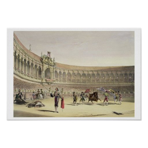 The Plaza of Seville, 1865 (colour litho) Poster