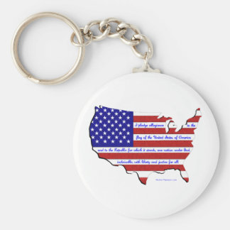 The Pledge of Allegiance Basic Round Button Key Ring