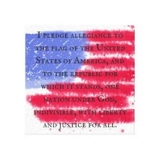 The Pledge of Allegiance on American Flag Canvas