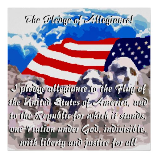 The Pledge of Allegiance with Flag Print