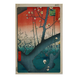 The Plum Garden in Kamei by Hiroshige Poster