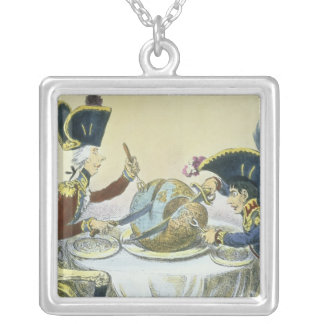 The Plum Pudding in Danger, 1805 Square Pendant Necklace