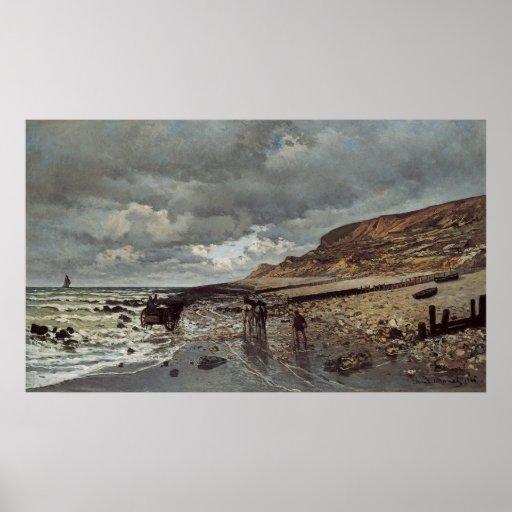 The Pointe de La Hève at Low Tide (1865) Poster