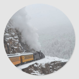 The Polar Express Rounds the Bend Classic Round Sticker