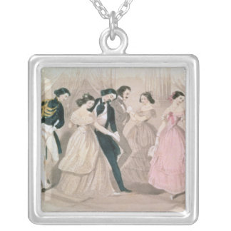 The Polka Fashions, from Godey's Lady's Book Square Pendant Necklace