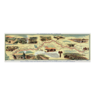 The Pony Express Route: American History 1860-1861 Poster