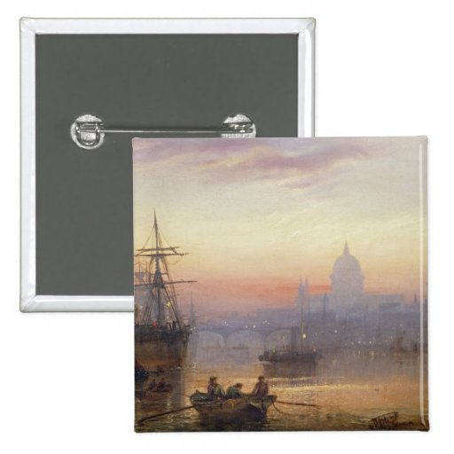 The Pool of London at Sundown, 1876 Pinback Buttons