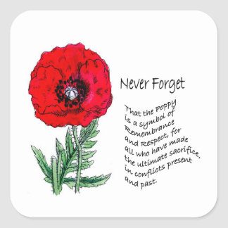 The Poppy Remembrance Day Stickers