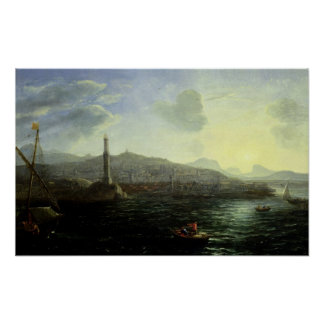 The Port of Genoa, Sea View Poster
