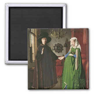 The Portrait of Giovanni Arnolfini Square Magnet