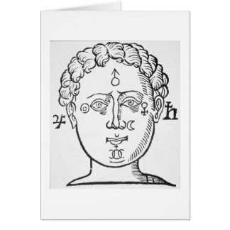 The Position of the Planets in the Human Head, cop Card