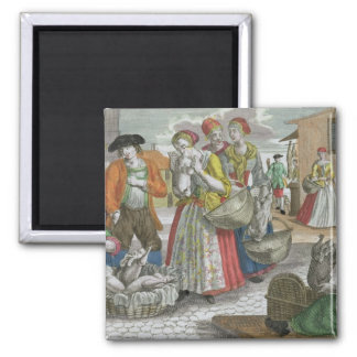 The Poultry Market (coloured engraving) Square Magnet