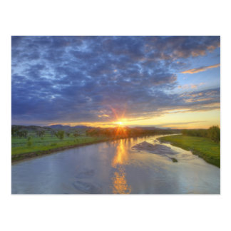 The Powder River catches last light in Custer Postcard