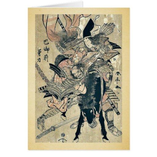 The powerful Tomoe Gozen by Katsukawa, Shuntei Uki Greeting Card