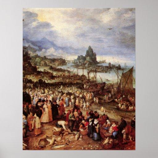 The preaching of Christ by Jan Brueghel the Elder Posters