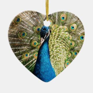 The Pretty Peacock Ceramic Heart Decoration