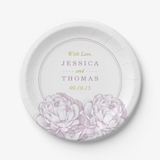 The Pretty Peony Floral Wedding Collection 7 Inch Paper Plate