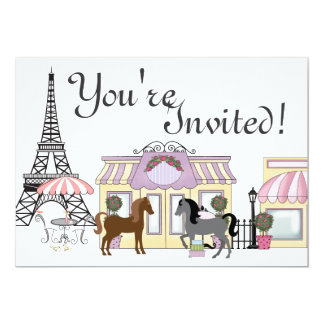 The Pretty Ponies Paris Horse Birthday Invitation