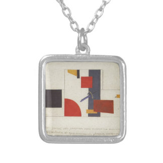 The principle of painting the walls by Kazimir Square Pendant Necklace