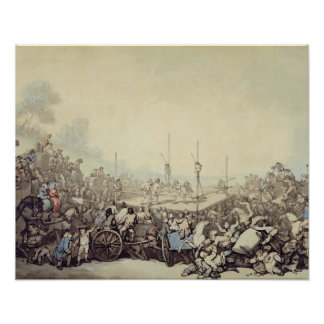 The Prize Fight, 1787 (pen, ink and w/c over graph Poster