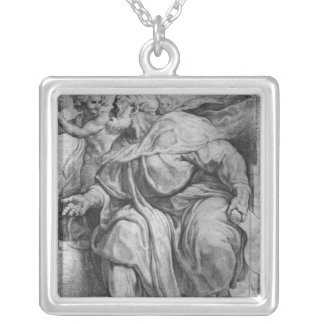 The Prophet Ezekiel, after Michangelo Buonarroti Square Pendant Necklace