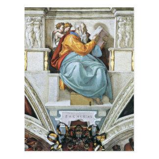 The prophet Zacharias detail by Michelangelo Postcard