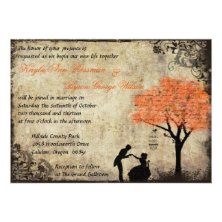 The Proposal Vintage Wedding Invitation in Orange