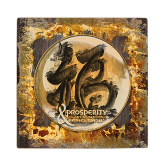 THE PROSPERITY CONNEXION : Art of Chinese Fengshui Maple Wood Coaster