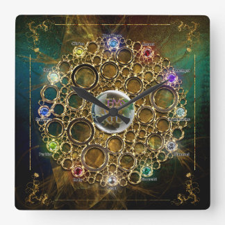 THE PROSPERITY CONNEXION : Gems of Fortune Square Wall Clock