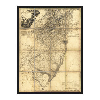 The Province of New Jersey Map (1778) Gallery Wrapped Canvas