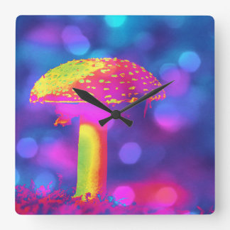 The Psychedelic Mushroom Square Wall Clock