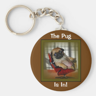 The Pug is in! Basic Round Button Key Ring