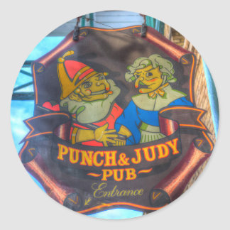The Punch And Judy Pub Sign Classic Round Sticker