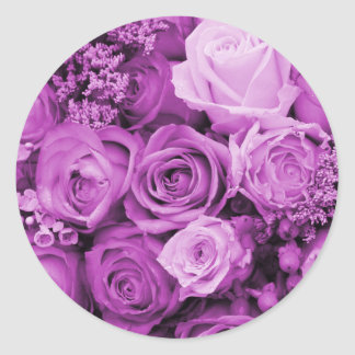 The purple rose experience classic round sticker
