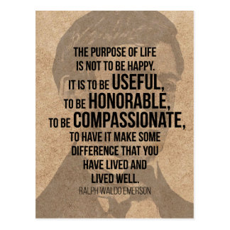 THE PURPOSE OF LIFE - Powerful Emerson Quote Postcard