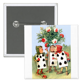 The Queen of Hearts Cardmen Paint Her Roses Button