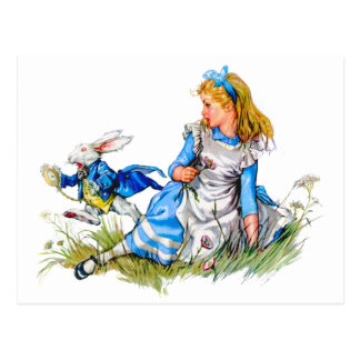 THE RABBIT IS LATE AS HE RUSHES BY ALICE POSTCARD