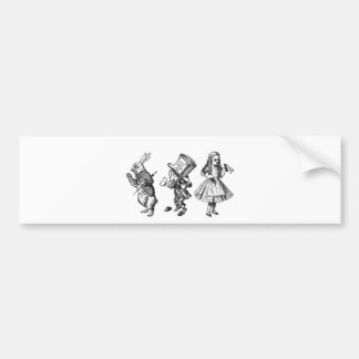 The Rabbit, the Hatter & Alice from Wonderland Bumper Sticker