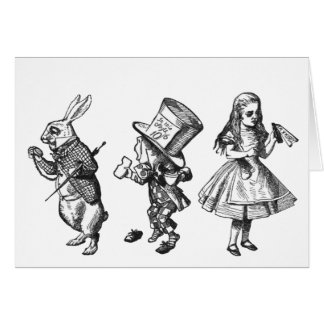The Rabbit, the Hatter & Alice from Wonderland Greeting Card